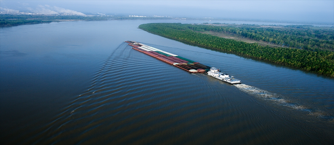 Barge on the Mississippi River USA